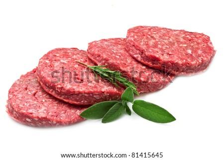 raw hamburger isolated on white background - stock photo