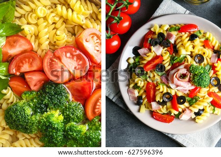 Raw ingredient and ready italian pasta salad