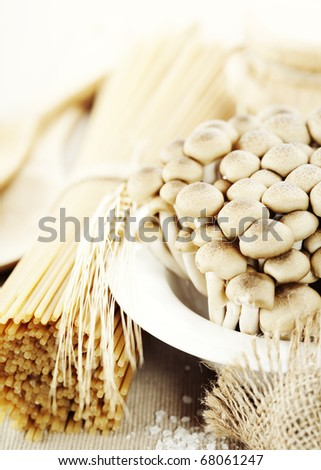 Raw Ingredients For Making Pasta (spaghetti, mushrooms) - stock photo
