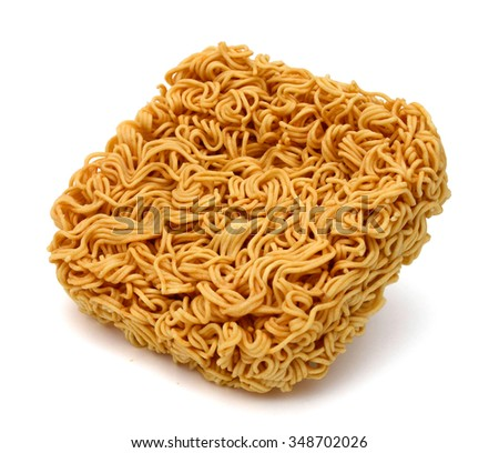 raw instant noodle on white background.
