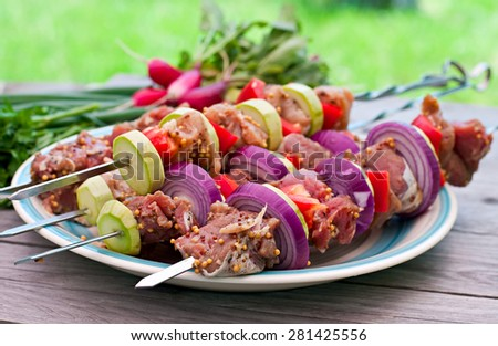 Raw kebabs and  vegetables - stock photo