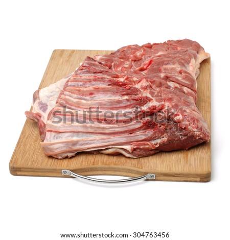 raw lamb meat on white background - stock photo