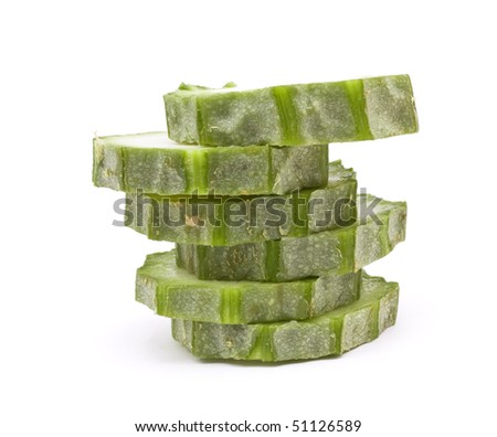 Raw Luffa Squash or Touria used in asian cooking or dried out to scrub your back. - stock photo