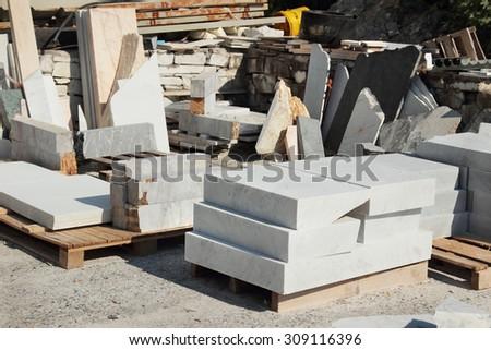 Raw marble blocks near Carrara, Tuscany region, Italy. - stock photo