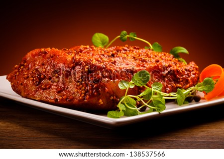 Raw marinated pork and vegetables - stock photo