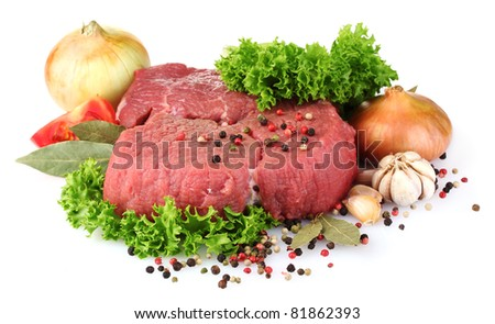 raw meat and spices isolated on white - stock photo