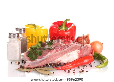 Raw meat and vegetables isolated on whit? - stock photo