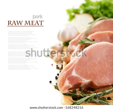 raw meat and vegetables on a white background - stock photo