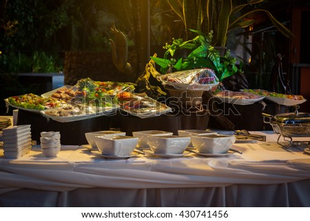 Raw meat in plastic wraps prepared for a BBQ buffet at the wedding. - stock photo