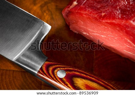 knife on cutting board stock photo 1384682 shutterstock. Black Bedroom Furniture Sets. Home Design Ideas
