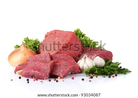 raw meat, vegetables and spices isolated on white - stock photo