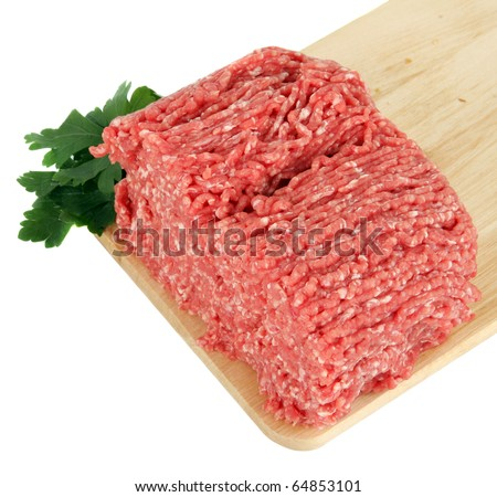raw minced meat   on board - stock photo
