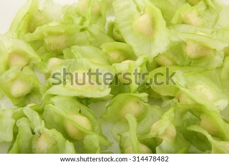 Raw moringa seeds.Selective focus photograph. - stock photo