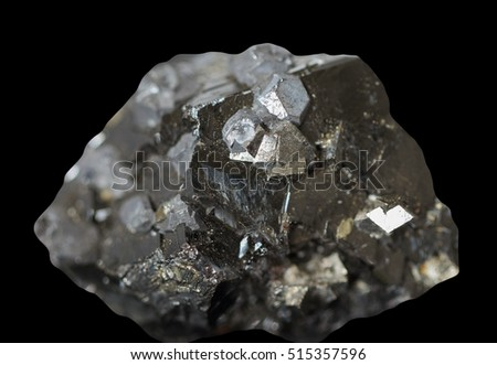 Raw natural mineral,galena and marmatit on black