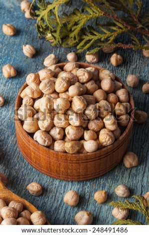 Raw Organic Garbanzo Beans - stock photo
