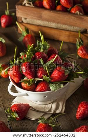 Raw Organic Long Stem Strawberries in a Bowl - stock photo