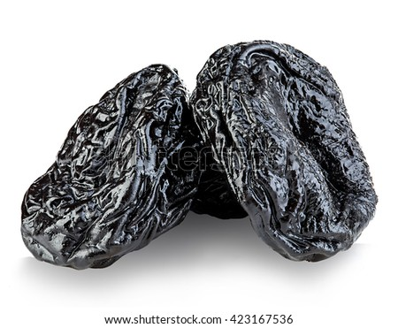 Raw organic prunes, dried plums, smoked prunes close-up on a white background. - stock photo