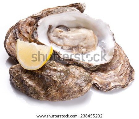 Raw oyster and lemon isolated on a whte background. - stock photo