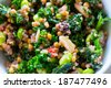 Raw paleo quinoa kale salad in a bowl. Healthy eating diet food. - stock photo