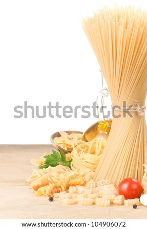 raw pasta and food vegetable isolated at white background - stock photo