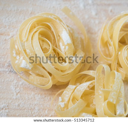 raw pasta home made with flour and eggs