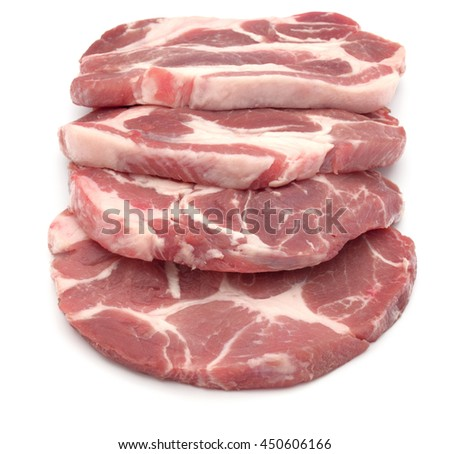 Raw pork chop meat isolated on white background cutout - stock photo