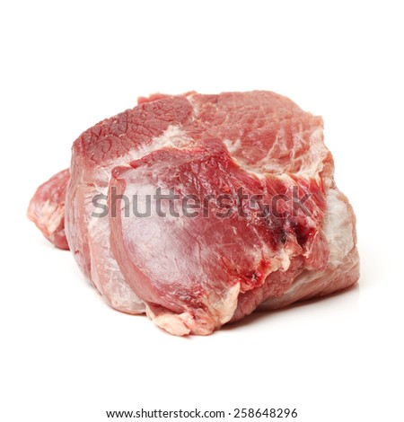 Raw pork meat on white background