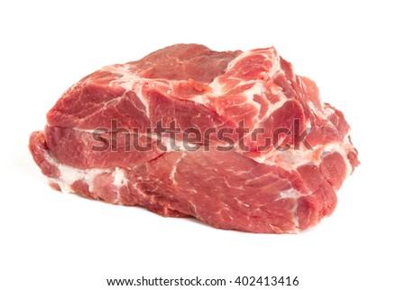 raw pork neck isolated on white - stock photo
