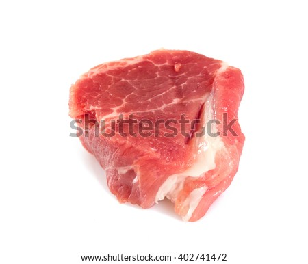 raw pork neck meat cut in pieces isolated on white - stock photo