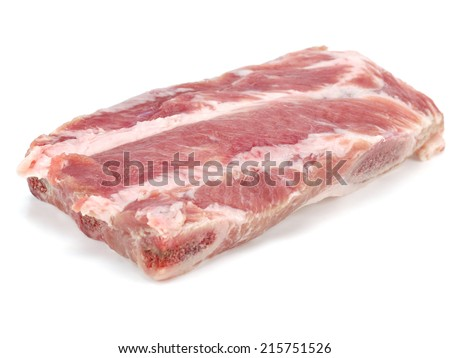 Raw pork ribs on a white background