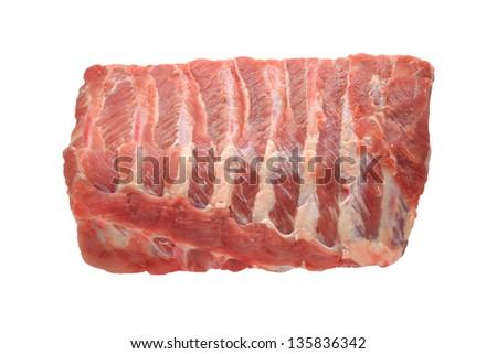 Raw pork ribs on white background - stock photo
