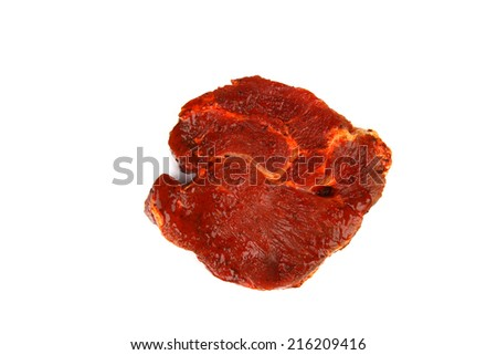 Raw pork steak marinated in beer and spices on white background. - stock photo