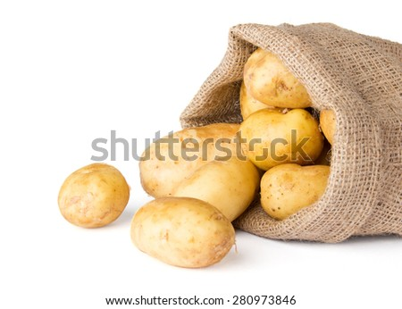 Raw potatoes in burlap bag isolated on white - stock photo