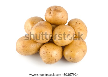 Raw potatoes isolated on a white background - stock photo