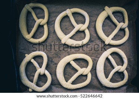 Raw pretzels ready for baked