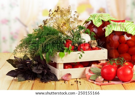 Raw red Tomatoes and dill in crate