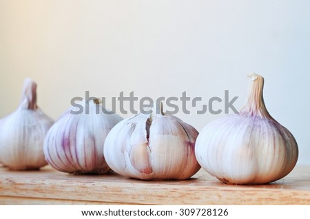 Raw ripe dry garlic bulbs onions homegrown  vegetables kitchen  - stock photo