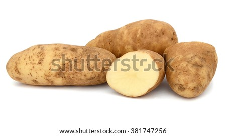 Raw Russet Potatoes Isolated on White