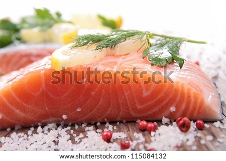 raw salmon and ingredient - stock photo