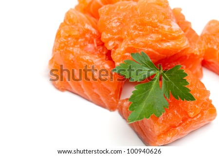 raw salmon fillet and parsley