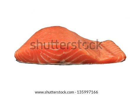 Raw Salmon fillet isolated on white - stock photo