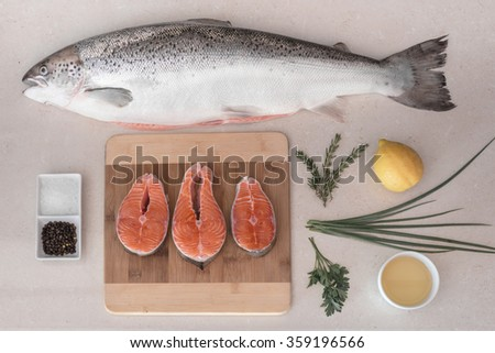 Raw salmon fish on the table ready to be cooked with lemon and spices - stock photo