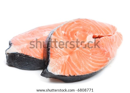 Raw salmon. Image series of different food on white background