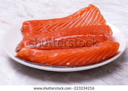 Raw salmon on the table