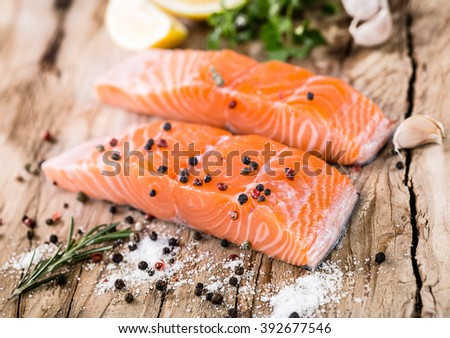 Salmon fish salmon fillet pepper salt stock photo for Aromatic herb for fish