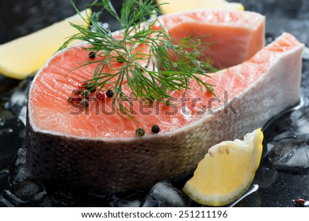 raw salmon steak with dill and lemon on ice, close-up, horizontal - stock photo