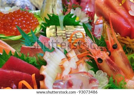 raw sea food on ice - stock photo