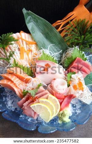 Raw seafood sashimi set  - stock photo