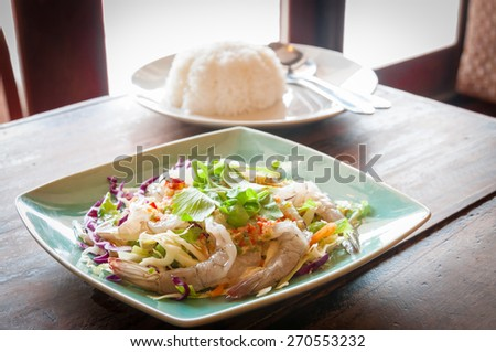 Raw shrimp in fish sauce, the Thai spicy appetizer - stock photo