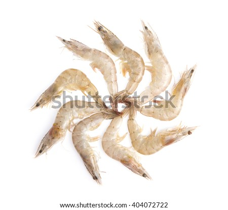 Raw shrimps isolated on white background